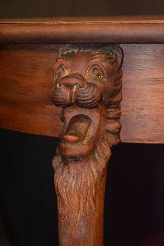 MAHOGANY LAMP TABLE WITH CARVED GRYPHON HEADS - 2
