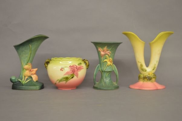 2 ROSEVILL VASES 204-8 AND 2 PIECES OF HULL POTTERY