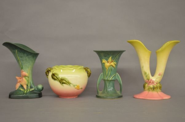 2 ROSEVILL VASES 204-8 AND 2 PIECES OF HULL POTTERY - 2