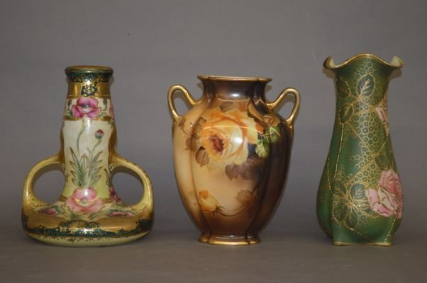 """3 LARGE NIPPON VASES 10"""" AND SMALLER"""
