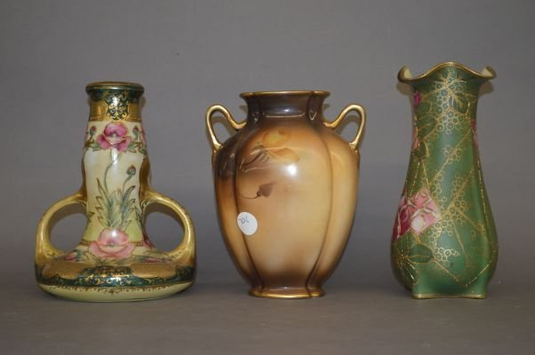 """3 LARGE NIPPON VASES 10"""" AND SMALLER - 2"""