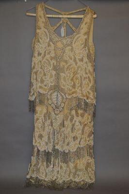 VINTAGE 1920'S HEAVILY BEADED FLAPPER DRESS