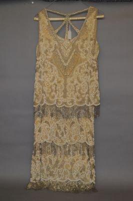 VINTAGE 1920'S HEAVILY BEADED FLAPPER DRESS - 2