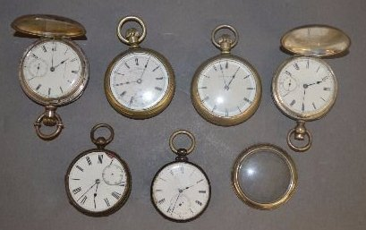 2 COIN SILVER RAILROAD POCKET WATCHES AND 4 OTHERS