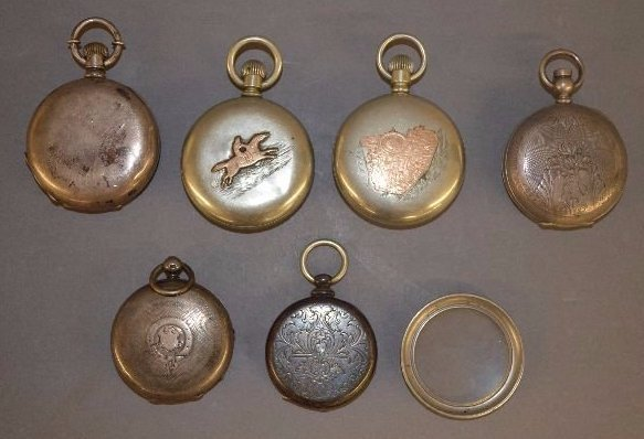 2 COIN SILVER RAILROAD POCKET WATCHES AND 4 OTHERS - 2