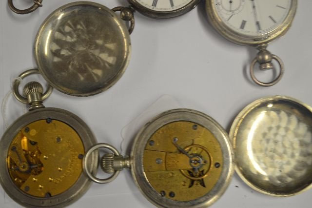 2 COIN SILVER RAILROAD POCKET WATCHES AND 4 OTHERS - 6