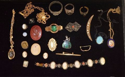 LOT OF VICTORIAN JEWELRY INCLUDING STERLING SILVER, ETC