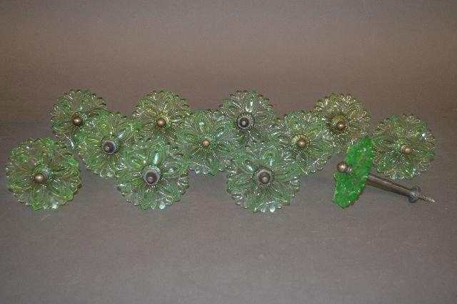 SET OF 12 SANDWICH GLASS PALE GREEN CURTAIN TIEBACKS