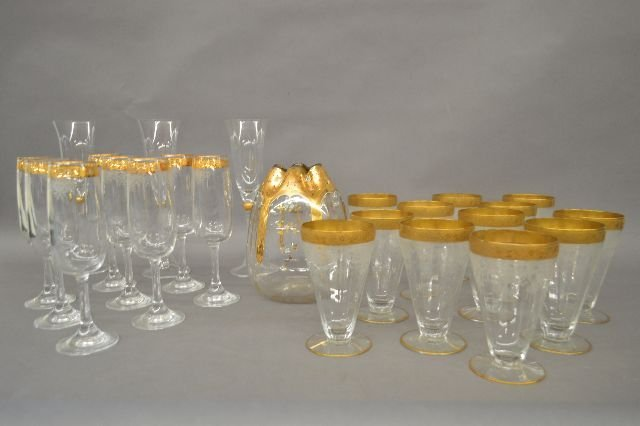 GOLD GILT WINE, CHAMPAGNES, AND MOSER ENAMEL VASE