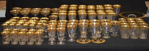 HUGE GOLD GILT LOT VICTORIAN GLASSWARE SERVICE