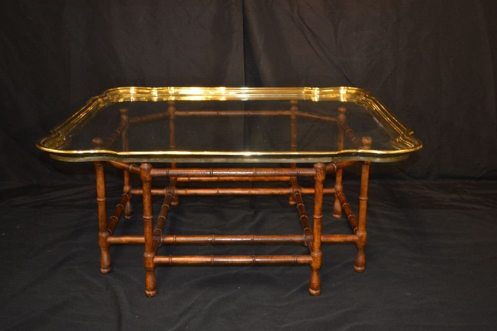 MID CENTURY SOLID BRASS AND GLASS COFFEE TABLE