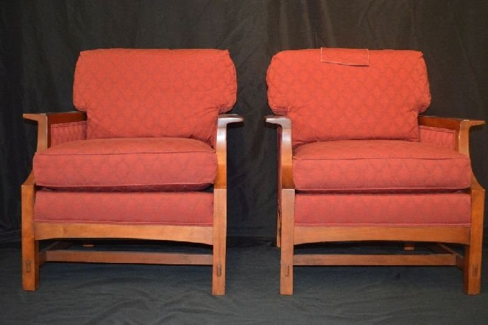 PAIR OF SIGNED STICKLEY CONTEMPORARY ARMCHAIRS