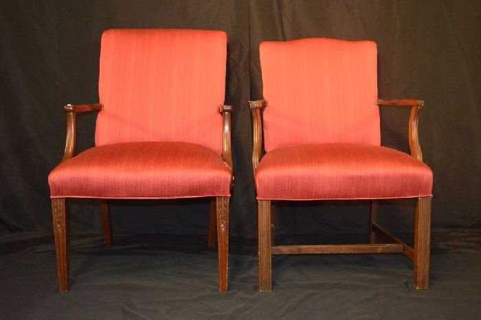 PAIR OF RED UPHOLSTERED CHIPPENDALE STYLE CHAIRS