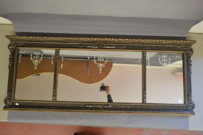 """VICTORIAN THREE PART ETCHED OVER MANTEL MIRROR; 57"""" x"""