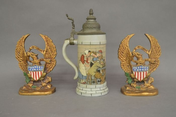 "ANTIQUE METTLACH STEIN WITH 2 EAGLE BOOKENDS; 10"" AND"