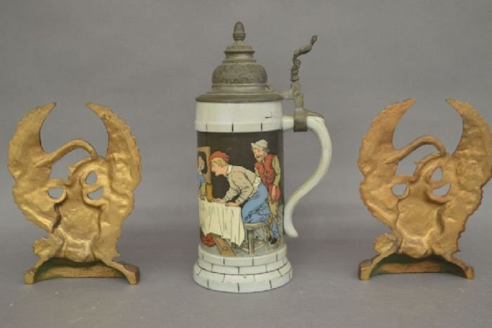 "ANTIQUE METTLACH STEIN WITH 2 EAGLE BOOKENDS; 10"" AND - 2"