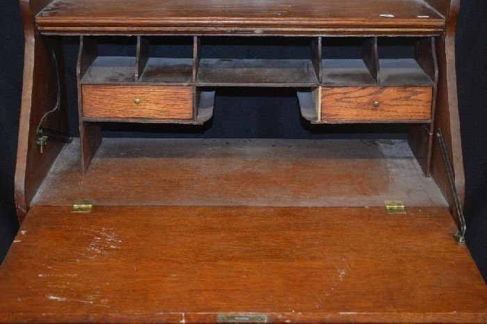 "LARKIN ART NOUVEAU MIRRORED OAK SLANT FRONT DESK; 50"" x - 2"