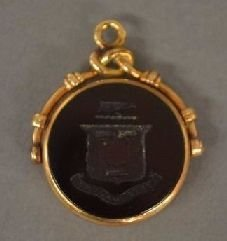 VICTORIAN ROSE GOLD BLOOD STONE WATCH FOB; 1 1/8""