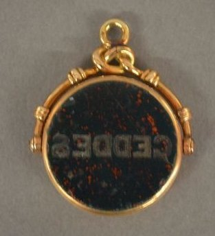 "VICTORIAN ROSE GOLD BLOOD STONE WATCH FOB; 1 1/8"" - 2"