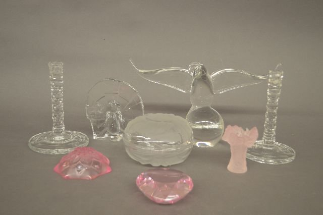 8 SIGNED GLASSWARE PIECES, ROSENTHAL PAPERWIEGHT,