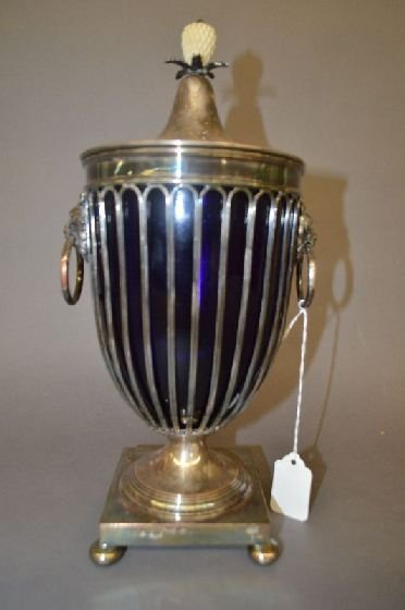 SILVER PLATED MANTLE URN WITH CARVED FINIAL AND COBALT - 2