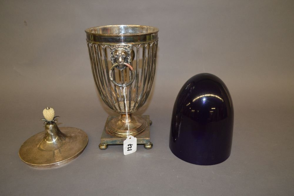 SILVER PLATED MANTLE URN WITH CARVED FINIAL AND COBALT - 6