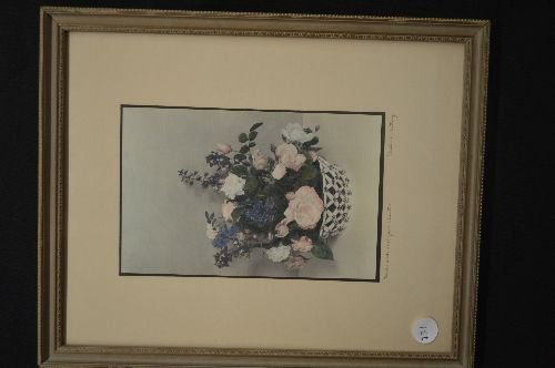 WALLACE NUTTING SIGNED PRINT, ROSES AND LARKSPUR