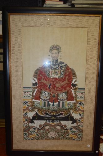 "FRAMED CHINESE SCROLL OF WATERCOLOR PAINTING; 21"" x 39"" - 2"