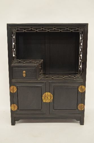 CARVED HARDWOOD SMALL DISPLAY CUPBOARD