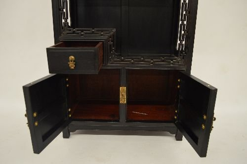 CARVED HARDWOOD SMALL DISPLAY CUPBOARD - 2