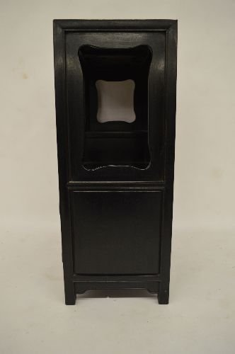 CARVED HARDWOOD SMALL DISPLAY CUPBOARD - 3