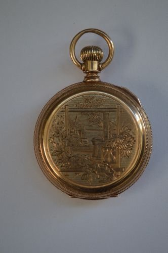 14K GOLD HAND CHASED LADIES POCKET WATCH BY WALTHAM.
