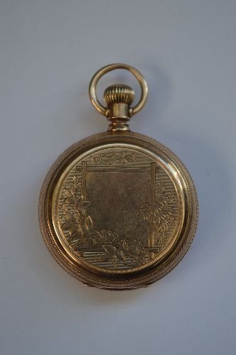 14K GOLD HAND CHASED LADIES POCKET WATCH BY WALTHAM. - 2