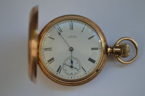14K GOLD HAND CHASED LADIES POCKET WATCH BY WALTHAM. - 3