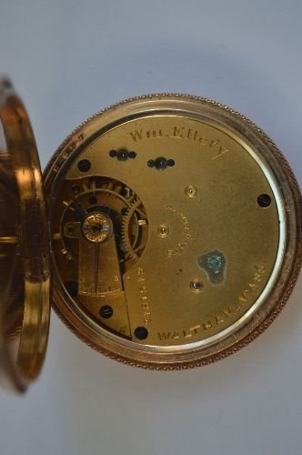 14K GOLD HAND CHASED LADIES POCKET WATCH BY WALTHAM. - 5