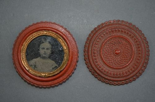 TINTYPE OF ANNE MARY BAUSCH IN A RED CARVED GUTTA