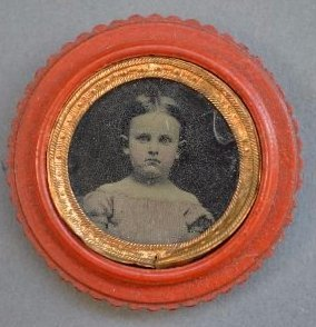 TINTYPE OF ANNE MARY BAUSCH IN A RED CARVED GUTTA - 2