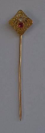 14K GOLD VICTORIAN STICKPIN WITH DIAMOND AND RUBY