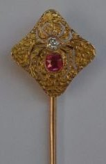 14K GOLD VICTORIAN STICKPIN WITH DIAMOND AND RUBY - 2