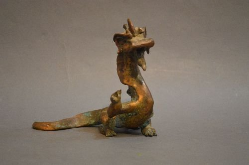 "A GILDED CHINESE BRONZE DRAGON FIGURE; 6 1/2"" x 5 1/2"""
