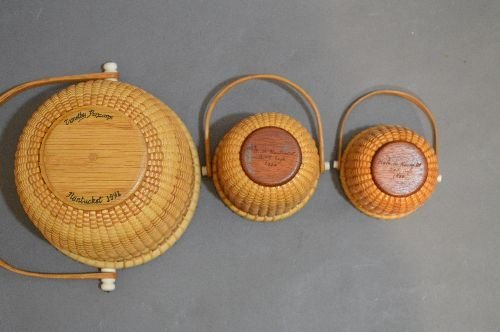 "3 SIGNED NANTUCKET BASKETS; 6"" AND SMALLER - 2"