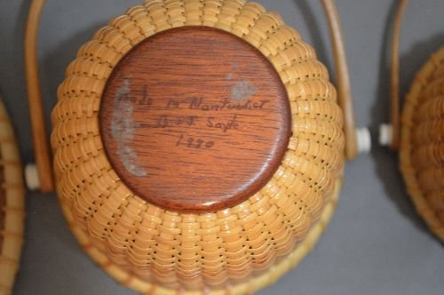 "3 SIGNED NANTUCKET BASKETS; 6"" AND SMALLER - 4"