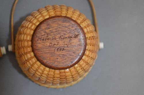 "3 SIGNED NANTUCKET BASKETS; 6"" AND SMALLER - 5"