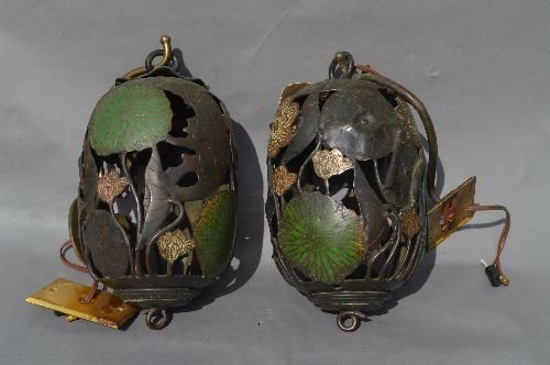 2  ANTIQUE BRONZE AND ENAMELED LILLY PAD FORM CANDLE LA