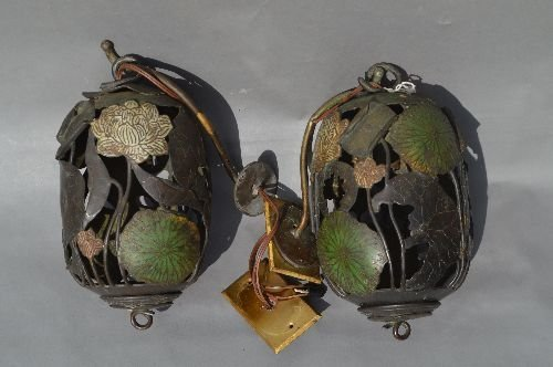 2  ANTIQUE BRONZE AND ENAMELED LILLY PAD FORM CANDLE LA - 2