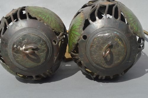 2  ANTIQUE BRONZE AND ENAMELED LILLY PAD FORM CANDLE LA - 3