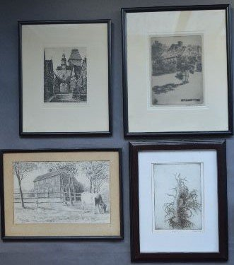 4 ARTIST SIGNED PRINTS; D.H.M., JAMES L THOMPSON, ETC;
