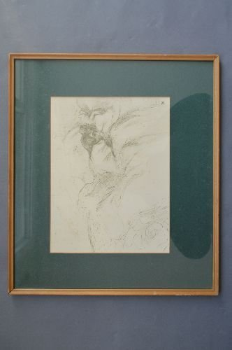 """PENCIL SKETCH OF A WOMEN LYING IN BED; 11"""" x 8"""" SITE"""