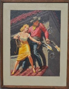 CLARENCE DOOER PULP ART WESTERN COWBOY COWGIRL PAINTING