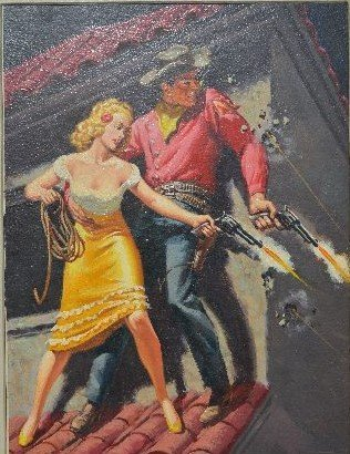 CLARENCE DOOER PULP ART WESTERN COWBOY COWGIRL PAINTING - 2